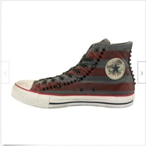 CONVERSE WASHED FLAG STUDDED TURTLEDOVE HIGH TOPS